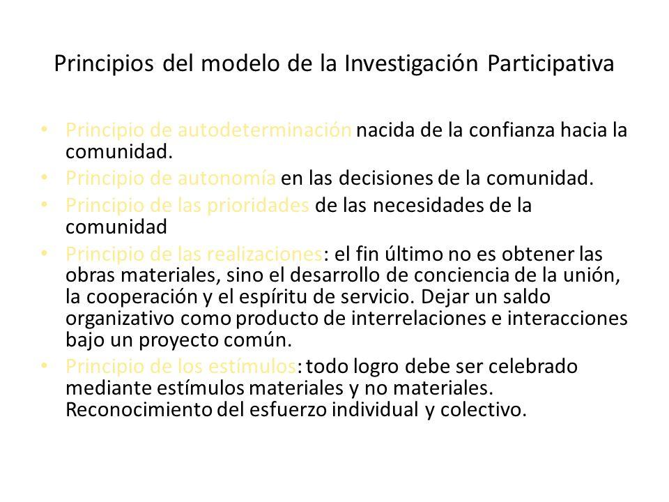 Principios del modelo de la Investigación Participativa