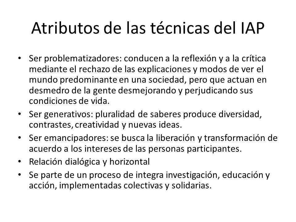 Atributos de las técnicas del IAP