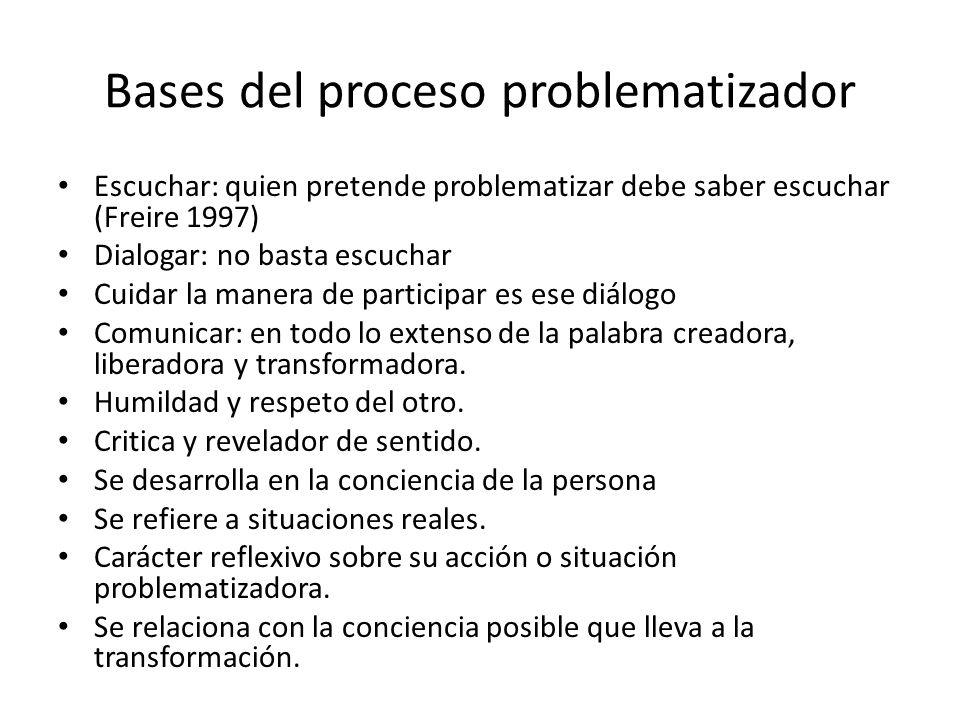 Bases del proceso problematizador