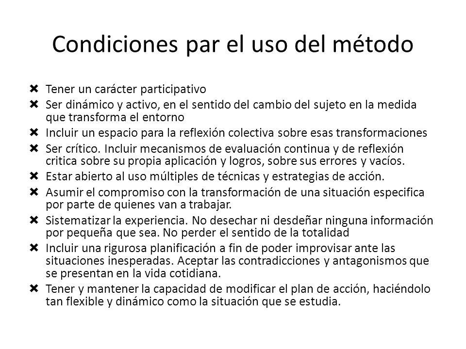 Condiciones par el uso del método