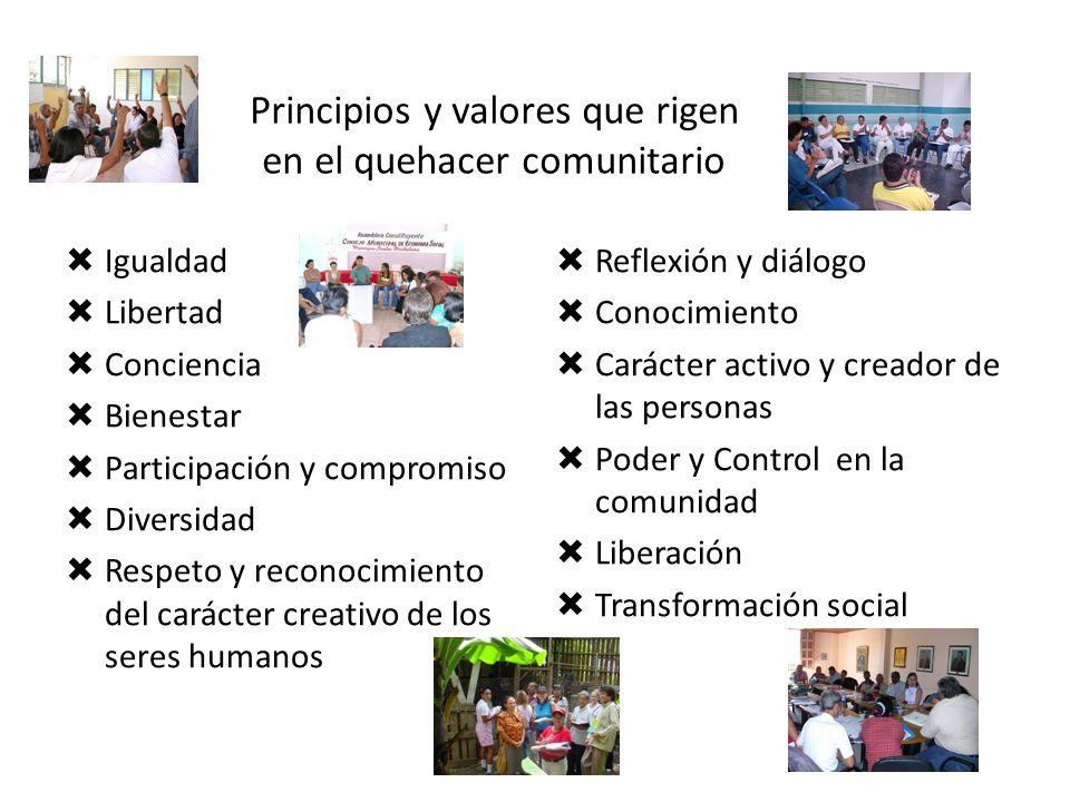 Principios y valores que rigen en el quehacer comunitario