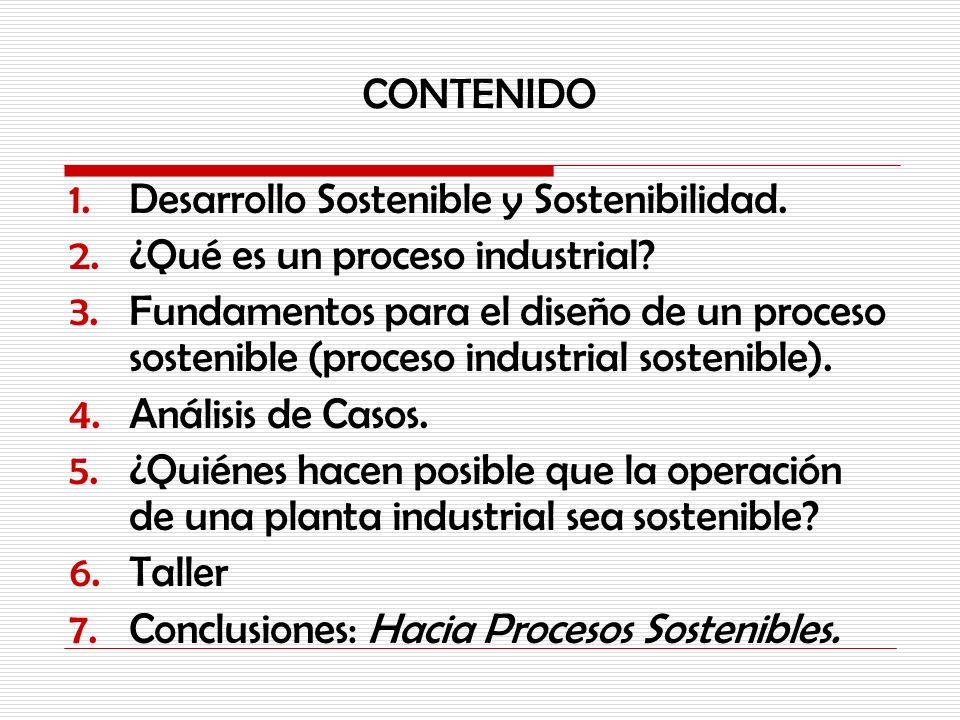 CONTENIDO Desarrollo Sostenible y Sostenibilidad. ¿Qué es un proceso industrial