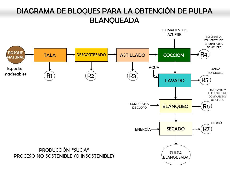DIAGRAMA DE BLOQUES PARA LA OBTENCIÓN DE PULPA BLANQUEADA