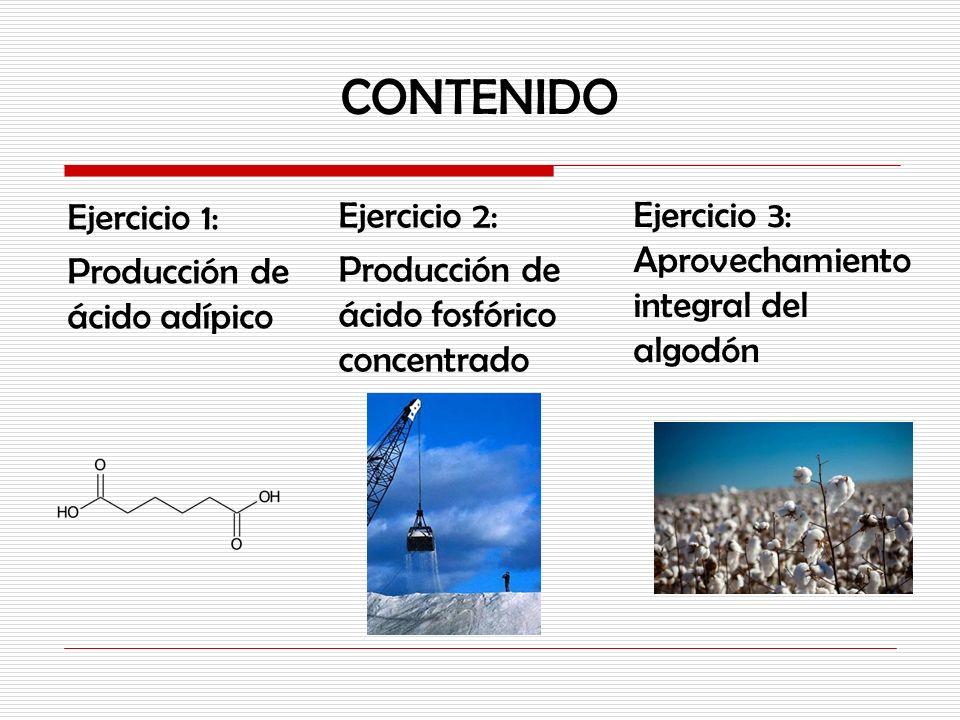 CONTENIDO Ejercicio 1: Producción de ácido adípico Ejercicio 2: