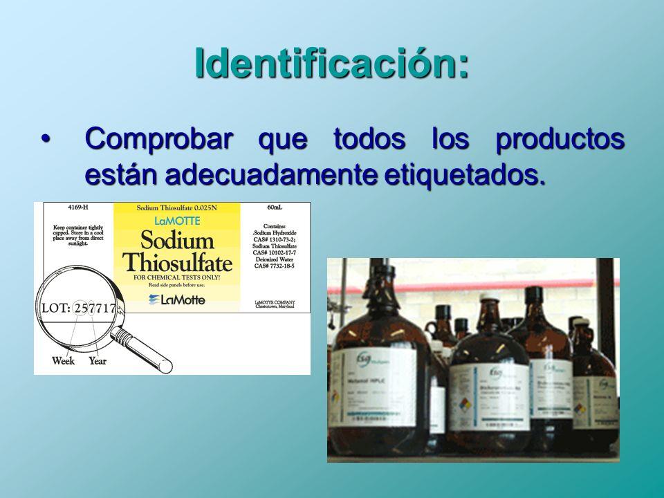 Identificación: Comprobar que todos los productos están adecuadamente etiquetados.