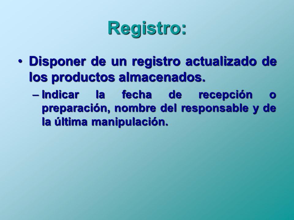 Registro: Disponer de un registro actualizado de los productos almacenados.