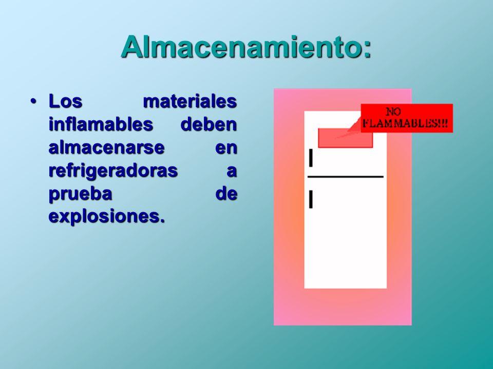 Almacenamiento: Los materiales inflamables deben almacenarse en refrigeradoras a prueba de explosiones.
