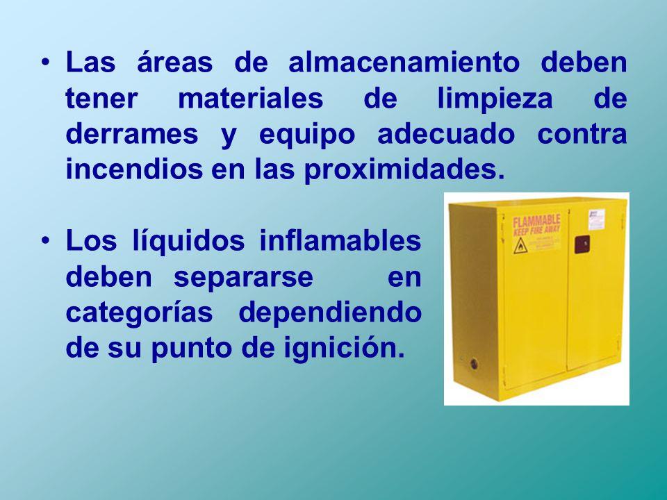 Las áreas de almacenamiento deben tener materiales de limpieza de derrames y equipo adecuado contra incendios en las proximidades.