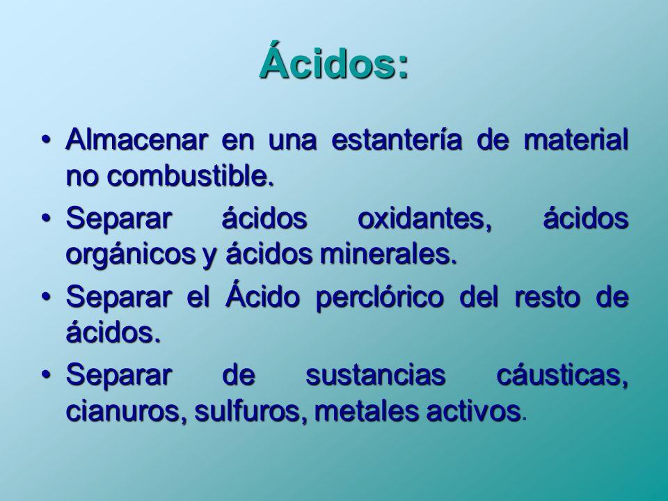 Ácidos: Almacenar en una estantería de material no combustible.