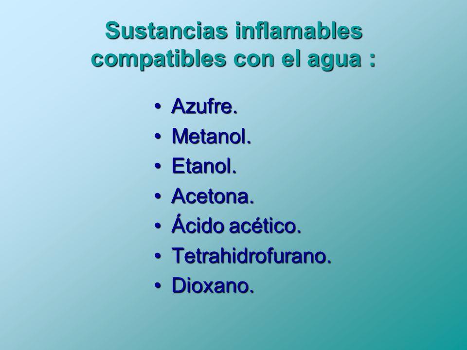 Sustancias inflamables compatibles con el agua :