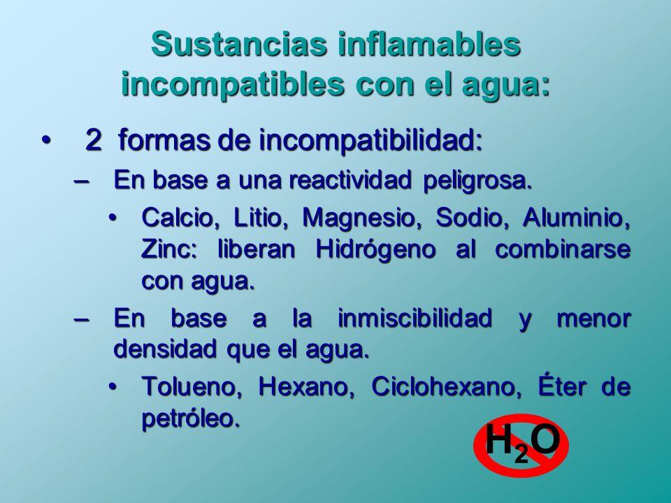 Sustancias inflamables incompatibles con el agua: