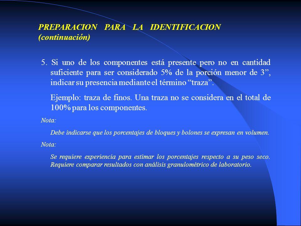 PREPARACION PARA LA IDENTIFICACION (continuación)