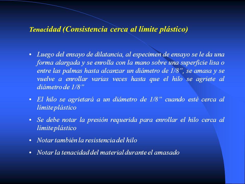 Tenacidad (Consistencia cerca al límite plástico)