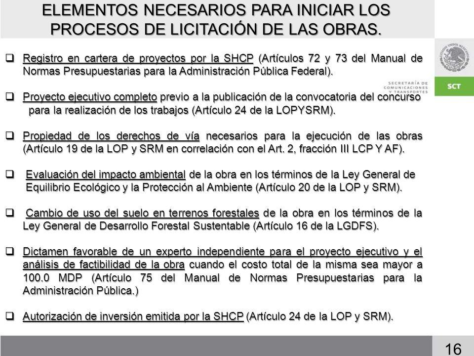ELEMENTOS NECESARIOS PARA INICIAR LOS PROCESOS DE LICITACIÓN DE LAS OBRAS.