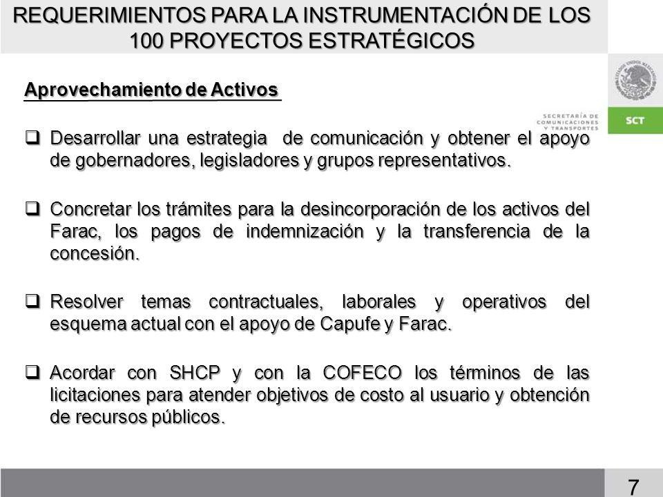 REQUERIMIENTOS PARA LA INSTRUMENTACIÓN DE LOS 100 PROYECTOS ESTRATÉGICOS