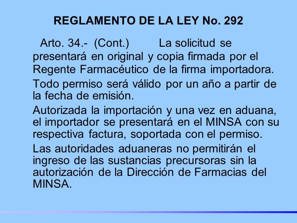 REGLAMENTO DE LA LEY No. 292