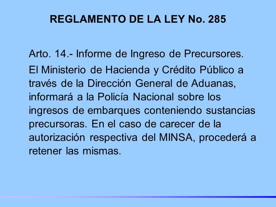 REGLAMENTO DE LA LEY No. 285 Arto. 14.- Informe de Ingreso de Precursores.