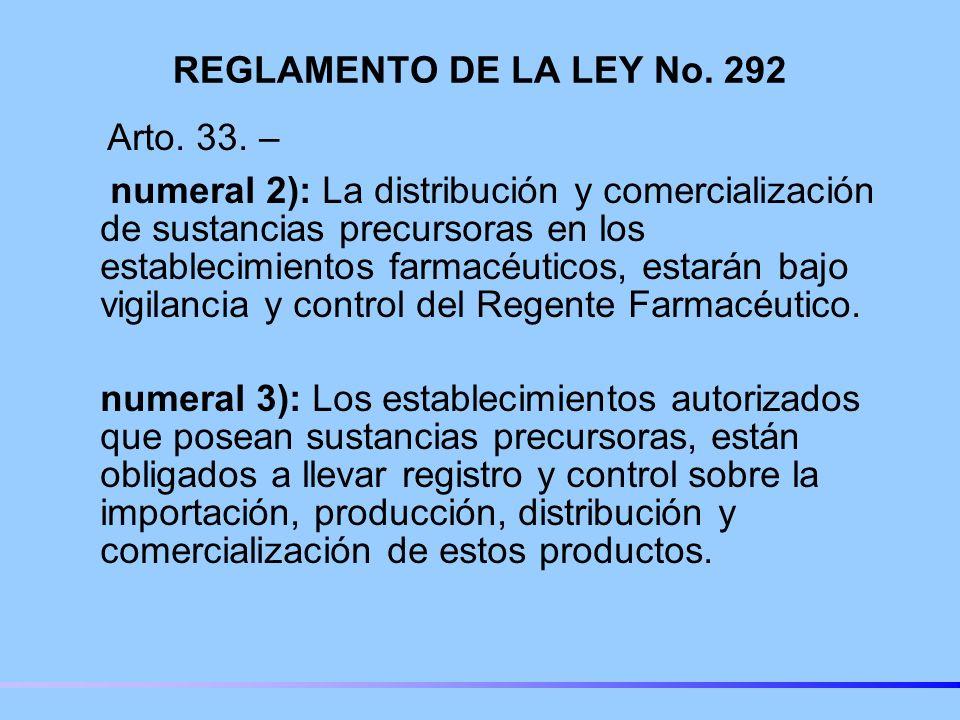 REGLAMENTO DE LA LEY No. 292 Arto. 33. –