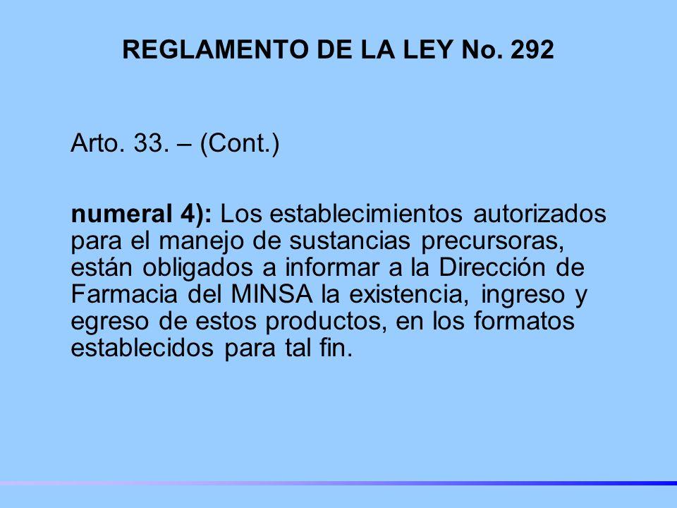 REGLAMENTO DE LA LEY No. 292 Arto. 33. – (Cont.)