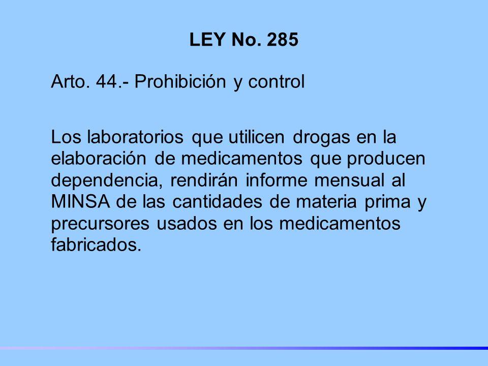 LEY No. 285 Arto. 44.- Prohibición y control.