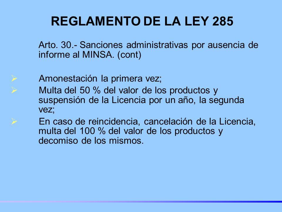 REGLAMENTO DE LA LEY 285 Arto. 30.- Sanciones administrativas por ausencia de informe al MINSA. (cont)