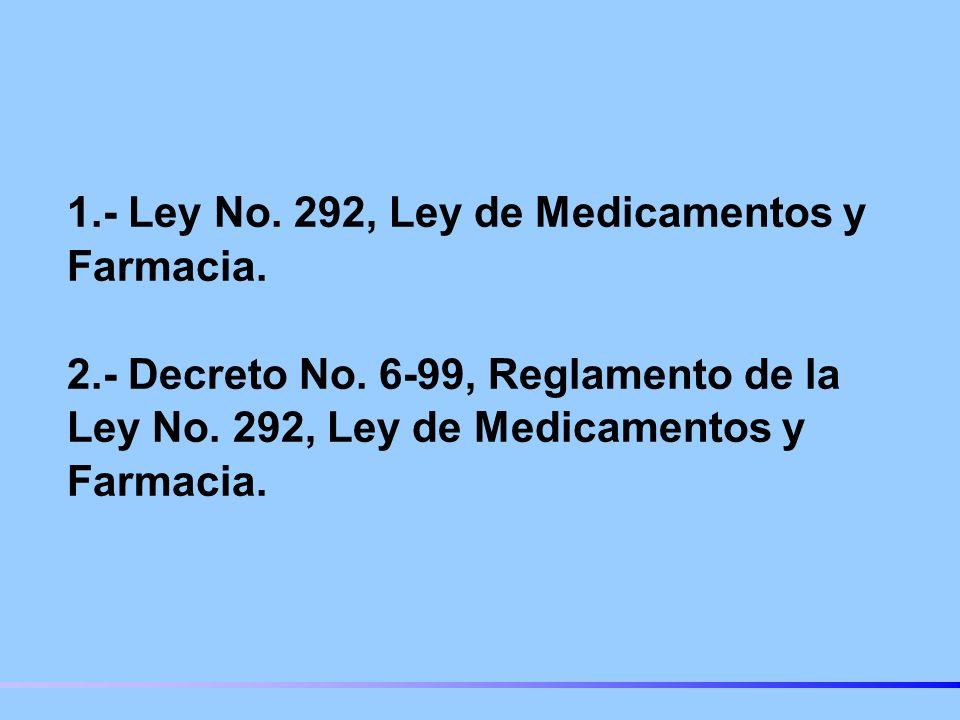 1. - Ley No. 292, Ley de Medicamentos y Farmacia. 2. - Decreto No