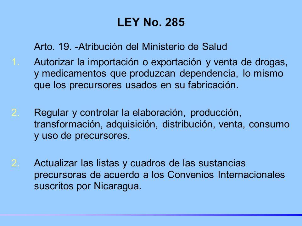 LEY No. 285 Arto. 19. -Atribución del Ministerio de Salud