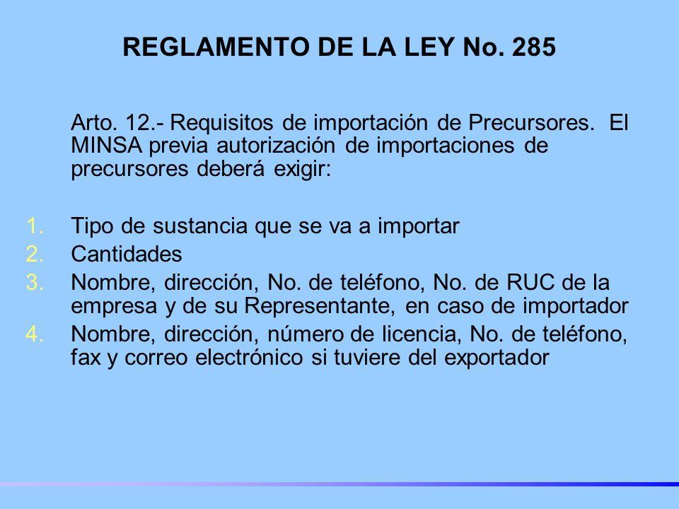 REGLAMENTO DE LA LEY No. 285