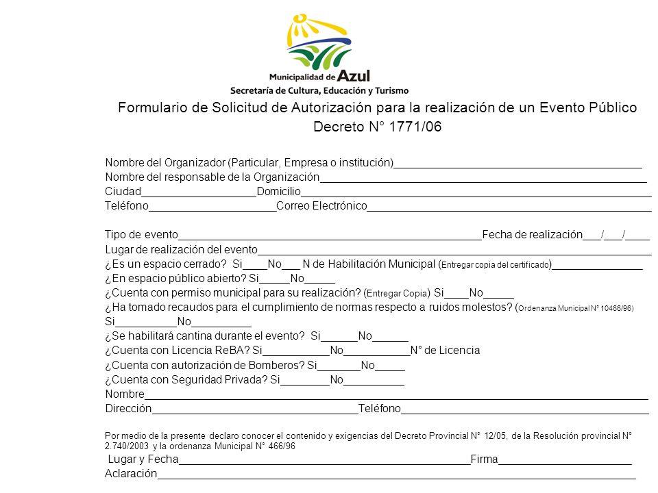 Formulario de Solicitud de Autorización para la realización de un Evento Público
