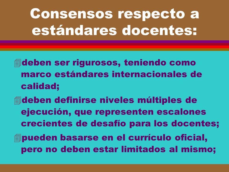 Consensos respecto a estándares docentes: