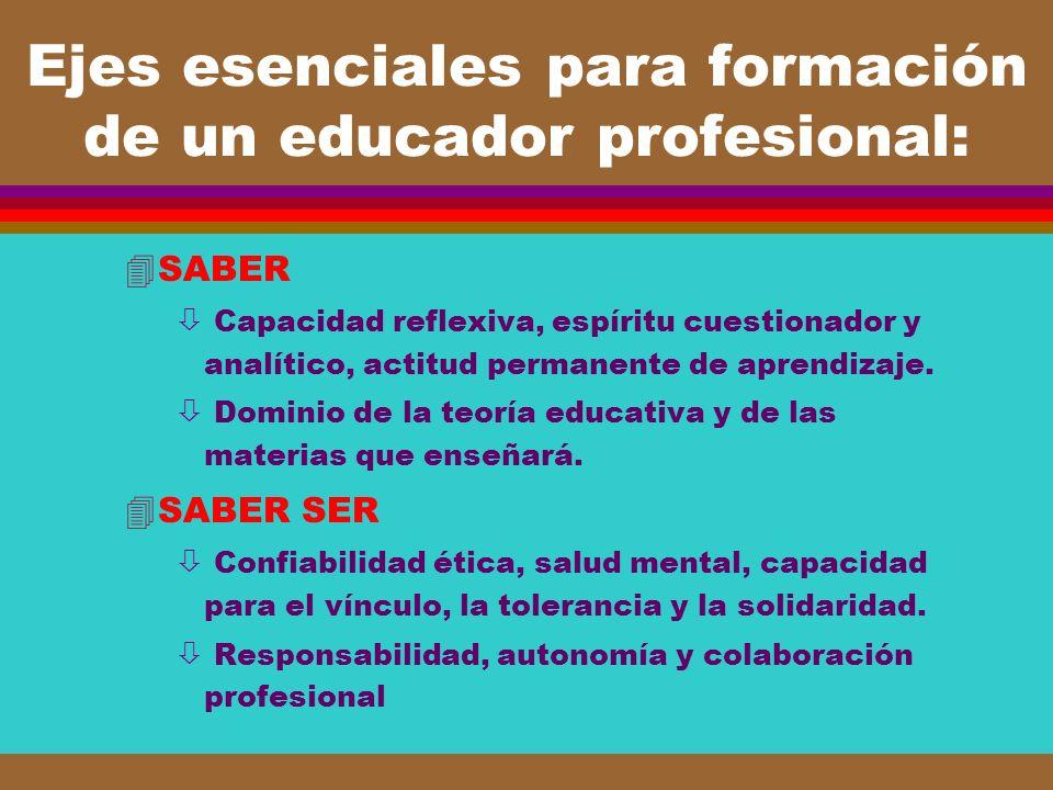 Ejes esenciales para formación de un educador profesional:
