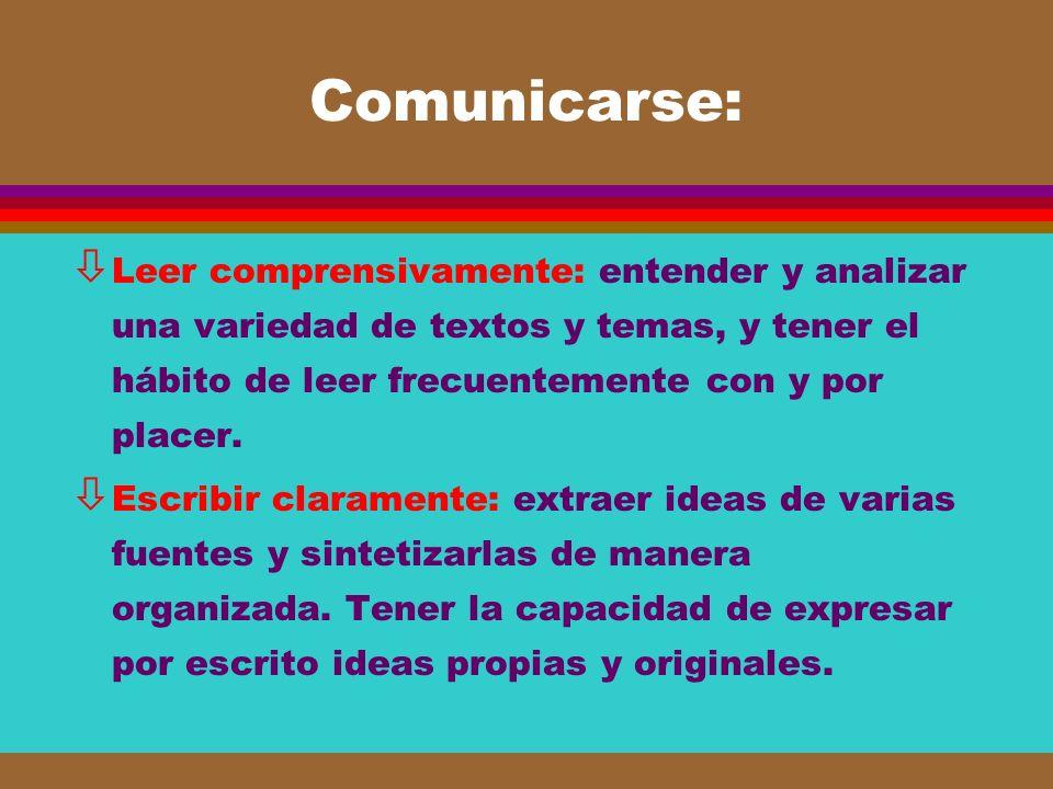 Comunicarse: Leer comprensivamente: entender y analizar una variedad de textos y temas, y tener el hábito de leer frecuentemente con y por placer.