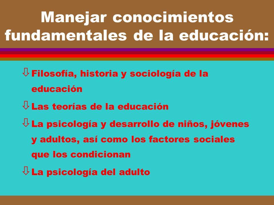 Manejar conocimientos fundamentales de la educación: