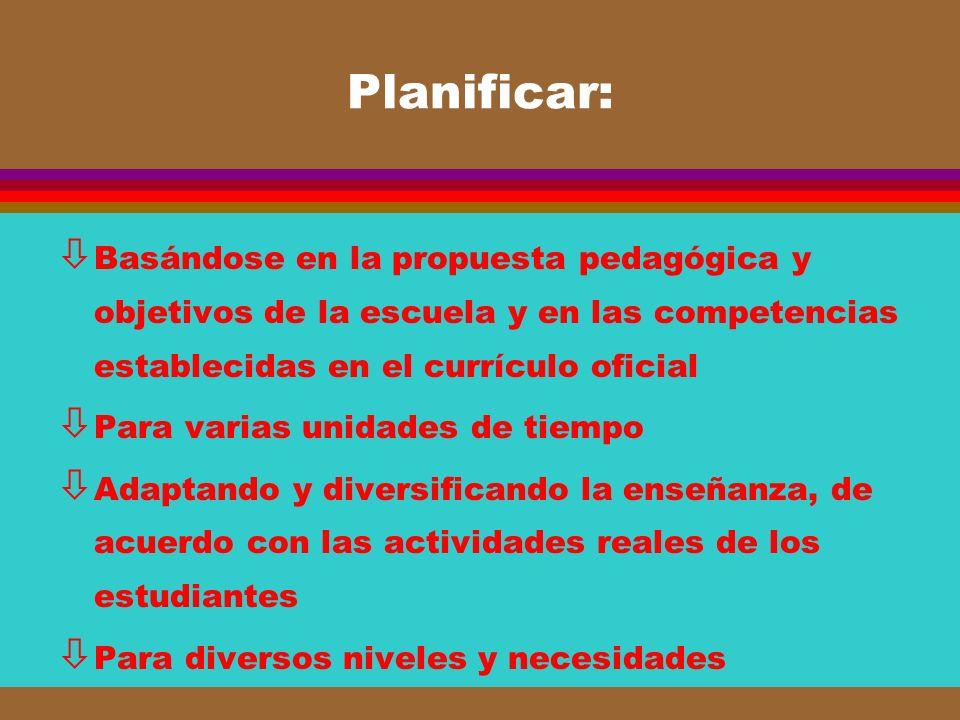 Planificar: Basándose en la propuesta pedagógica y objetivos de la escuela y en las competencias establecidas en el currículo oficial.