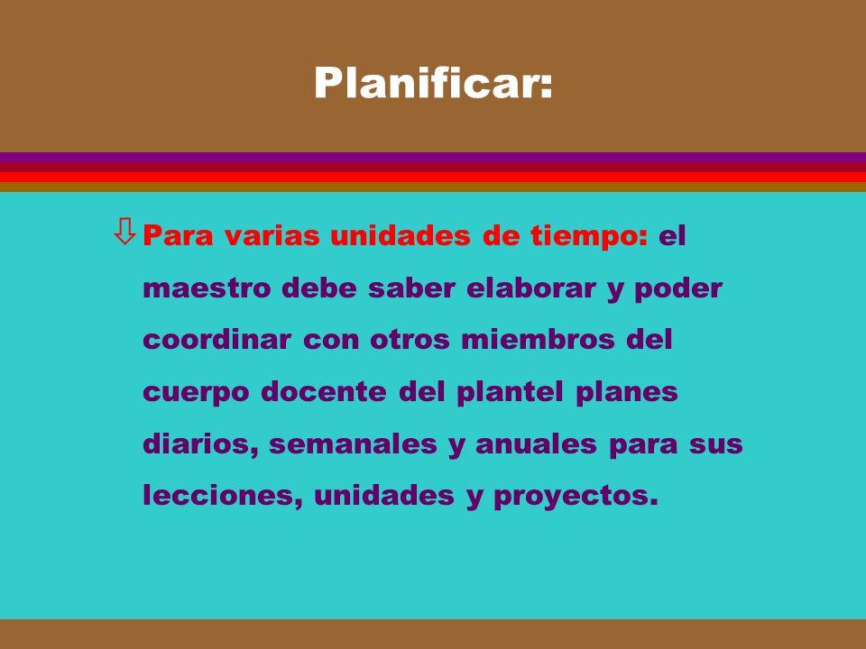 Planificar: