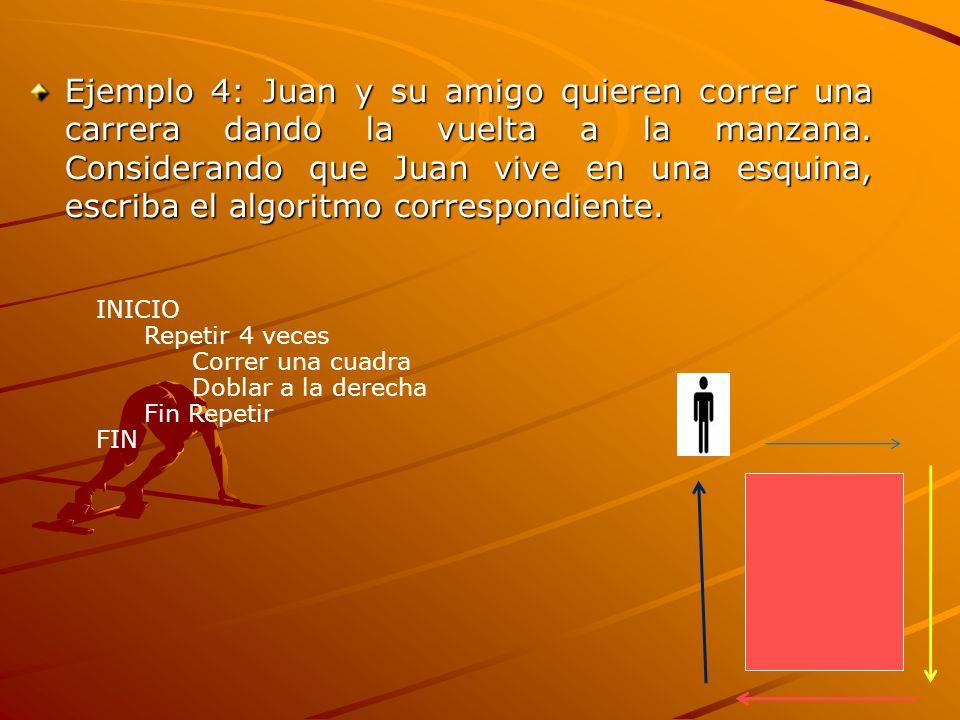 Ejemplo 4: Juan y su amigo quieren correr una carrera dando la vuelta a la manzana. Considerando que Juan vive en una esquina, escriba el algoritmo correspondiente.