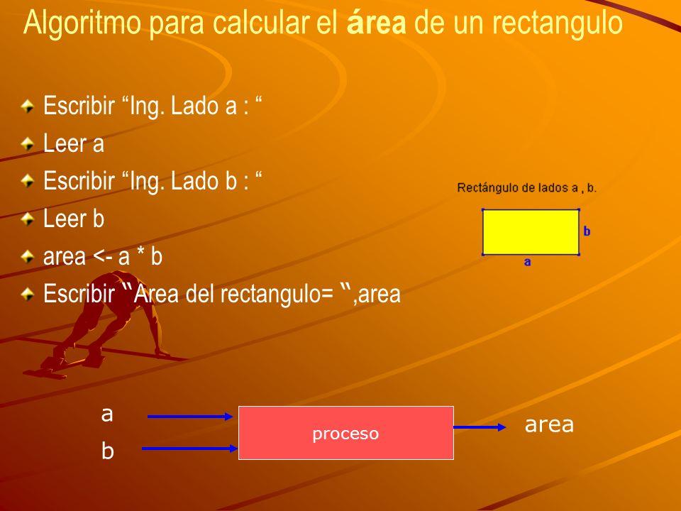Algoritmo para calcular el área de un rectangulo