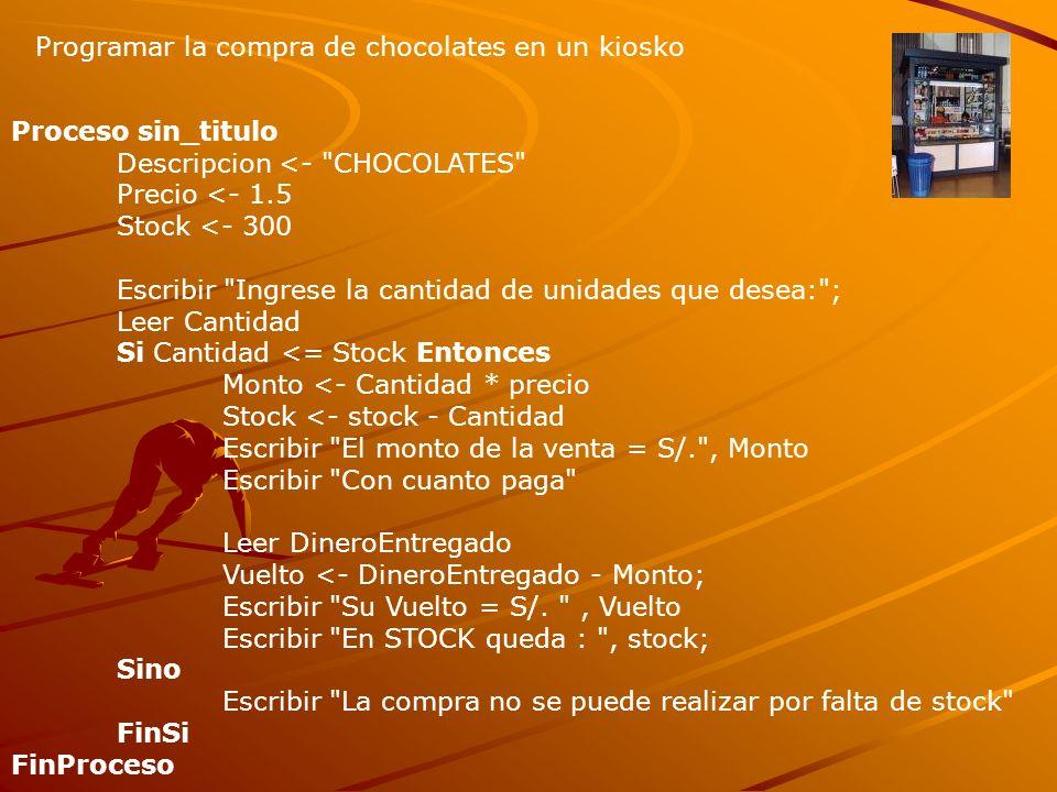 Programar la compra de chocolates en un kiosko