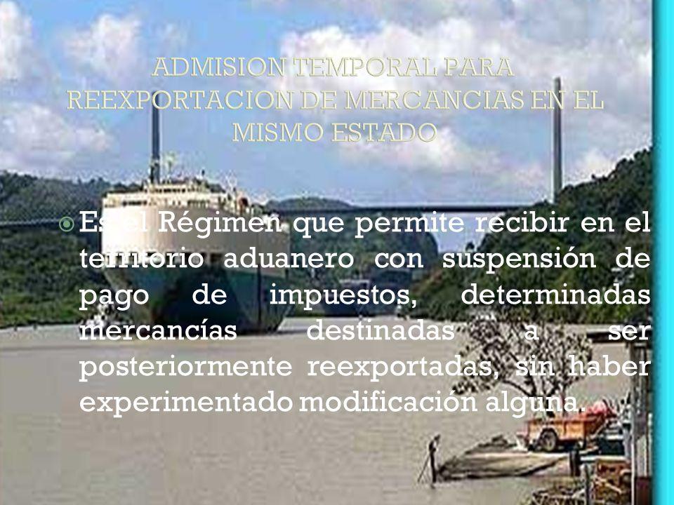 ADMISION TEMPORAL PARA REEXPORTACION DE MERCANCIAS EN EL MISMO ESTADO