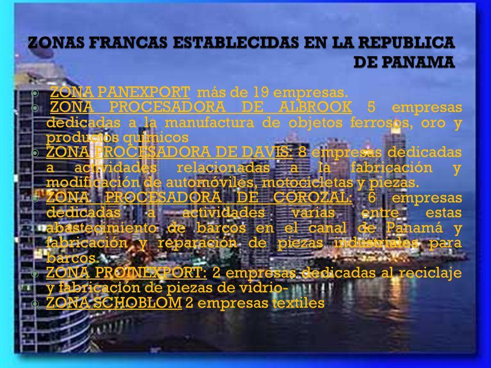 ZONAS FRANCAS ESTABLECIDAS EN LA REPUBLICA DE PANAMA