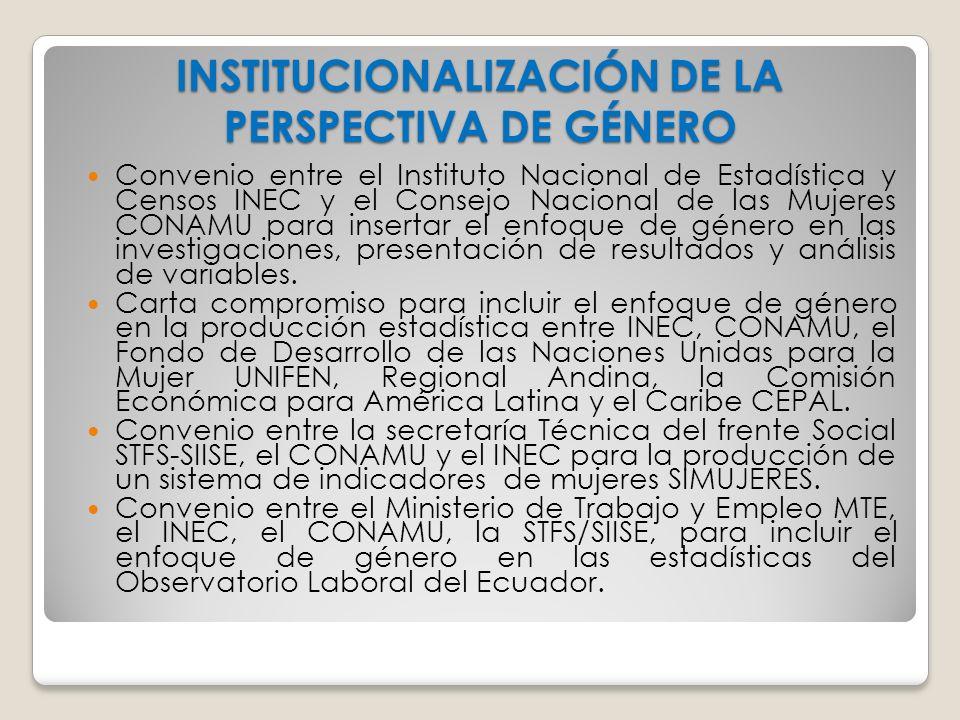 INSTITUCIONALIZACIÓN DE LA PERSPECTIVA DE GÉNERO