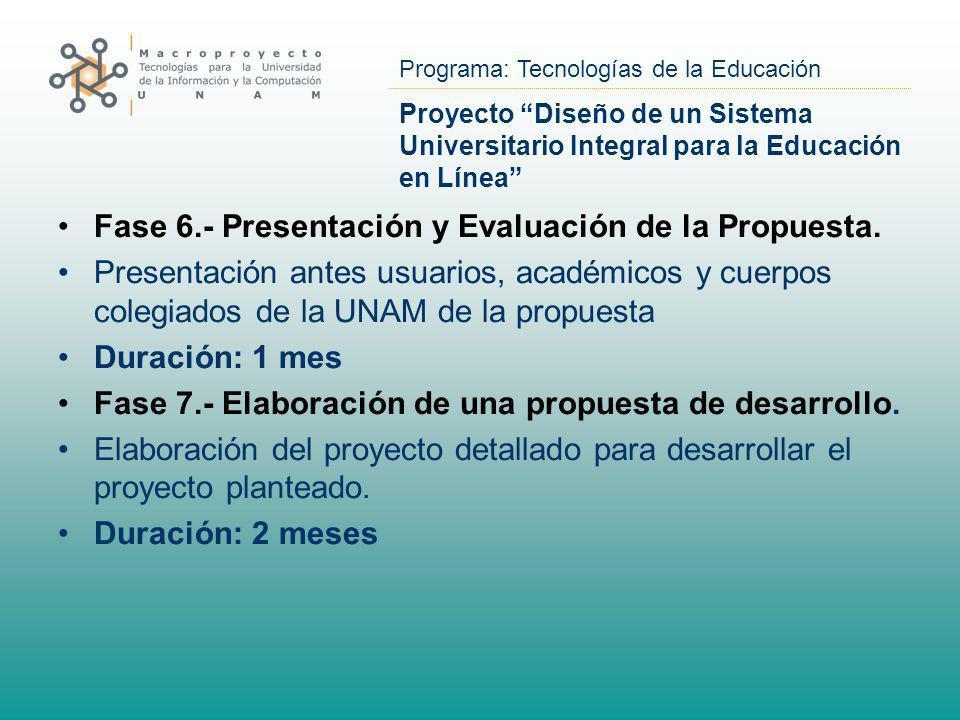 Fase 6.- Presentación y Evaluación de la Propuesta.