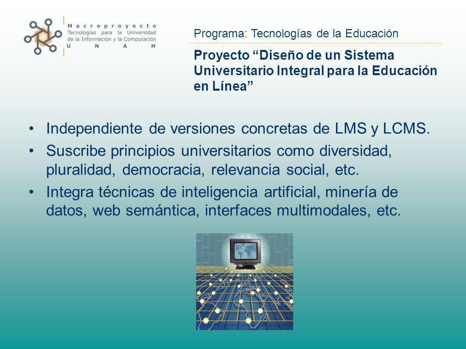Independiente de versiones concretas de LMS y LCMS.