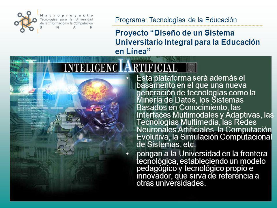 Proyecto Diseño de un Sistema Universitario Integral para la Educación en Línea