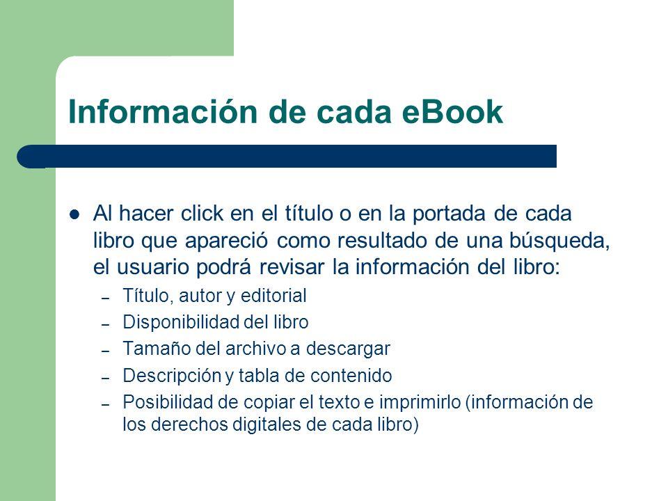 Información de cada eBook