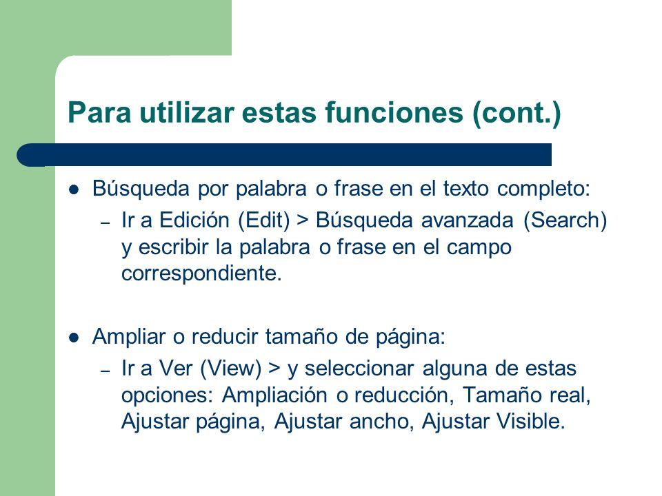 Para utilizar estas funciones (cont.)