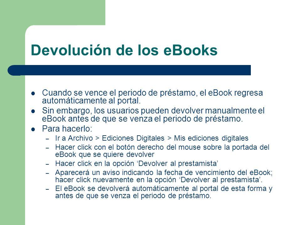 Devolución de los eBooks