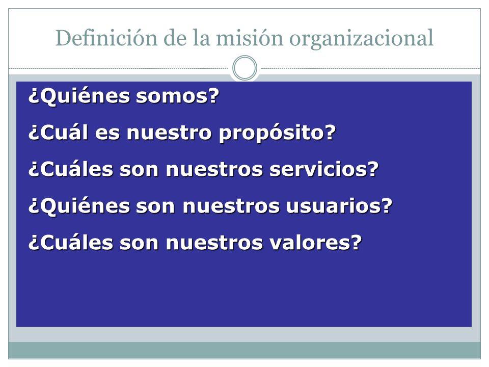 Definición de la misión organizacional