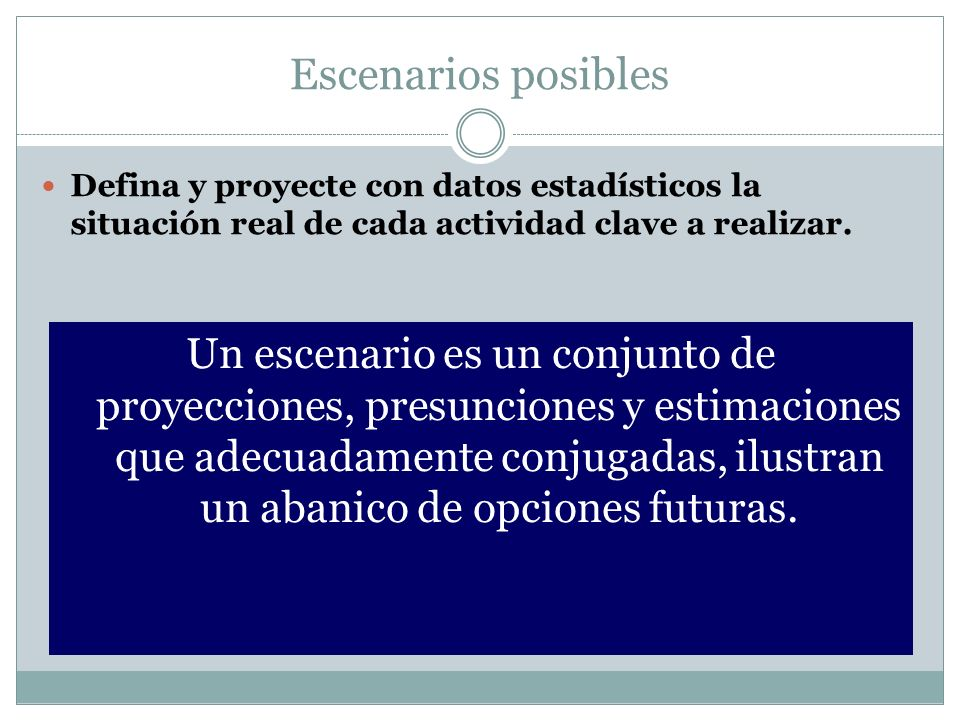 Escenarios posibles Defina y proyecte con datos estadísticos la situación real de cada actividad clave a realizar.