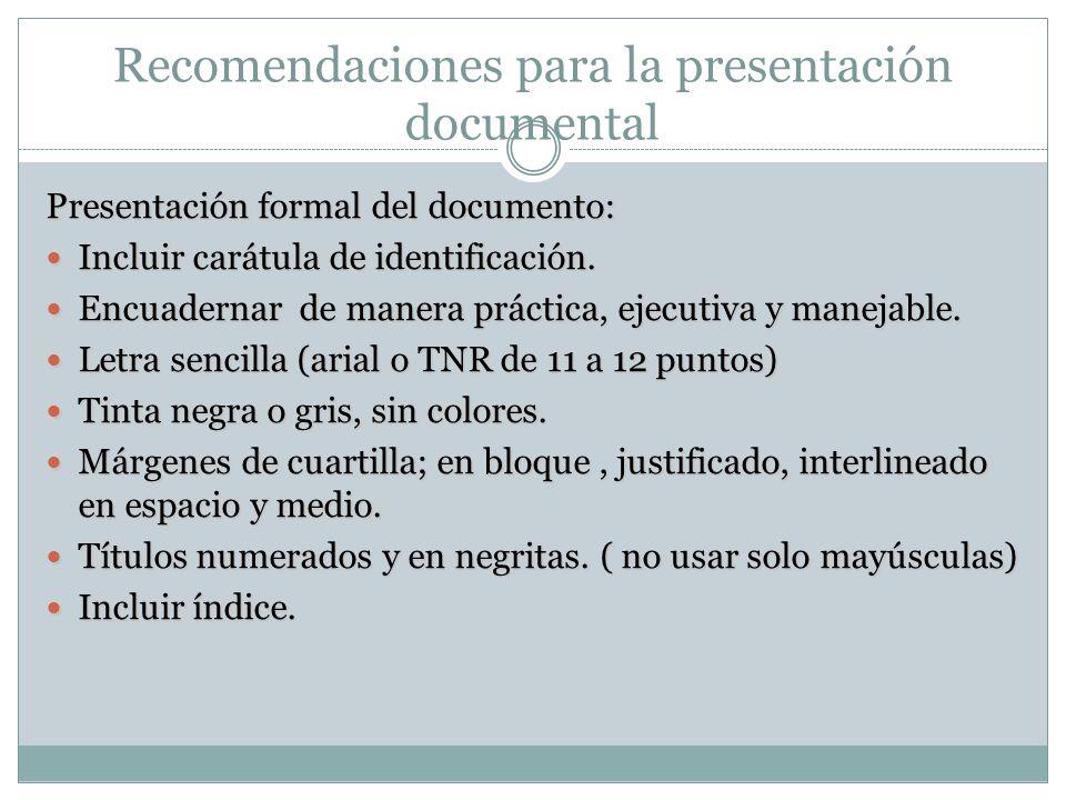 Recomendaciones para la presentación documental